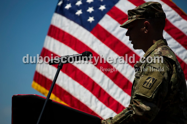Sarah Ann Jump/The Herald Jasper VFW Post 673 Commander and Army Staff Sergeant Eric Vonderheide recited Red Skeleton's Pledge of Alligiance during the Dubois County Veterans Council's annual flag disposable ceremony at the 4-H Fairgrounds in Bretzville on Saturday afternoon.
