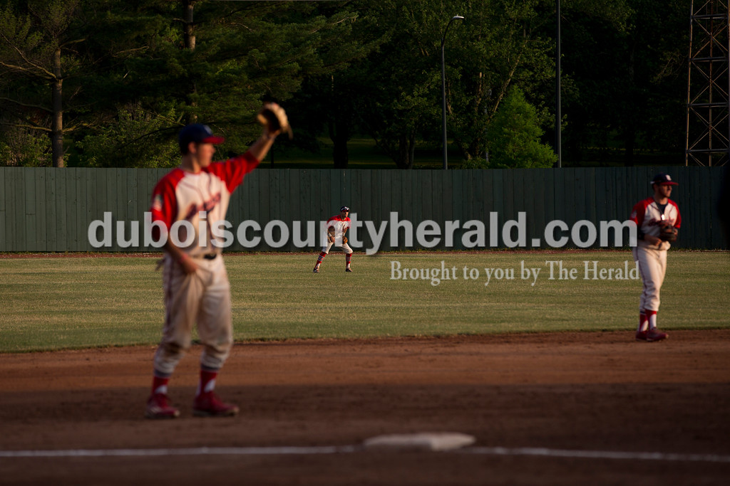 The Bombers readied in the outfield as the Chiefs batted during Tuesday evening's game between the Dubois County Bombers and Paducah Chiefs at League Stadium in Huntingburg. The Bombers won 4-2. Sarah Ann Jump/The Herald