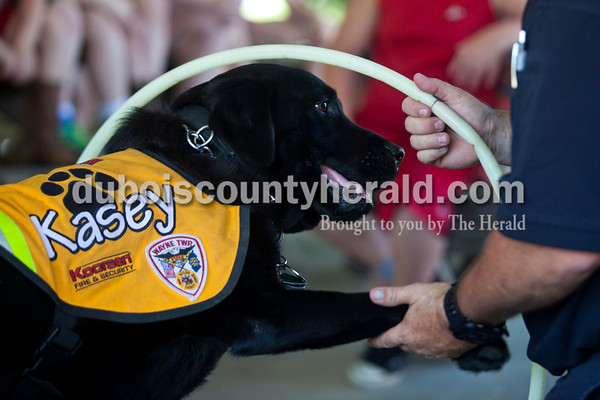 Alisha Jucevic/The Herald   Kasey the service dog and firefighter Jeff Owens demonstrated how to feel a hot door during the fire and safety skills program on Thursday afternoon put on by the Birdseye Branch Library in the Birdseye City Park.