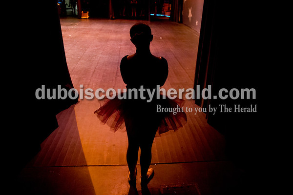 """Sarah Ann Jump/The Herald Chloe Herzog of Jasper, 15, watched the show from the wings during Sunday's Dance Central Academy of Performing Arts """"Got 2 Dance"""" recital at Jasper Arts Center."""