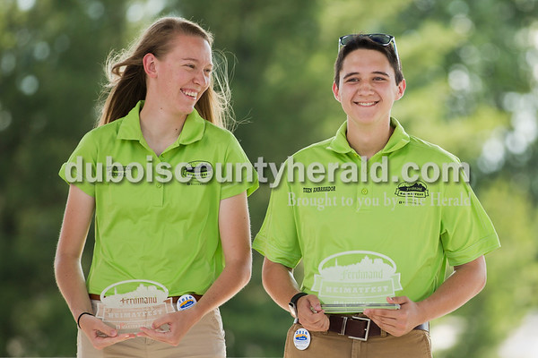 Teen Ambassador Runner-Up Sara Weyer and Teen Ambassador Luke Steffe, both 18 and of Ferdinand, accepted their awards on stage during the opening ceremonies of Ferdinand Heimatfest at 18th Street Park on Friday. Sarah Ann Jump/The Herald