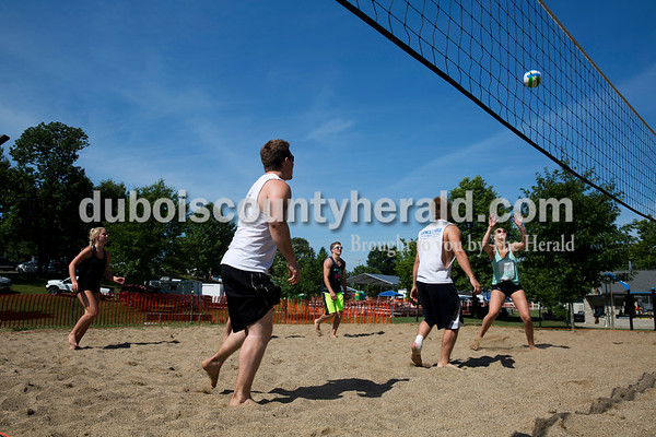 The Dirty Half Dozen team competed in the volleyball tournament  during Ferdinand Heimatfest at 18th Street Park on Saturday. Sarah Ann Jump/The Herald