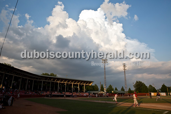 Dubois County Bombers' DeShawn Johnson ran to first during Thursday evening's game against the Owensboro Oilers at League Stadium in Huntingburg. The Bombers lost 12-3. Sarah Ann Jump/The Herald