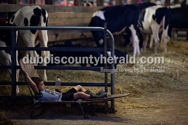 Luke Ledbetter of Holland, 5, relaxed on a fold up chair Wednesday night at the Dubois County 4-H Fair in Bretzville.  Alisha Jucevic/The Herald