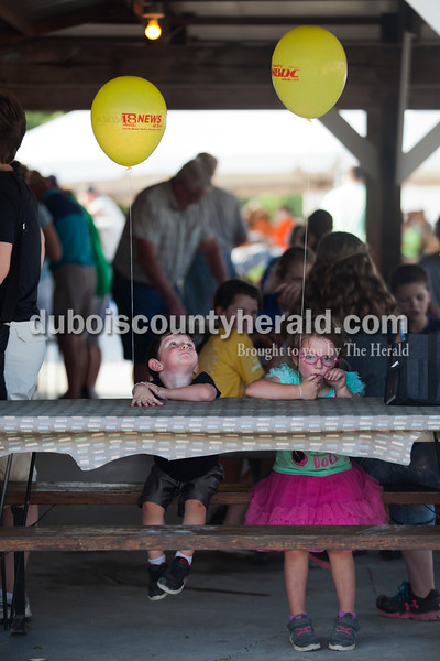 Jase Fawks, 2, and his sister Joslynne Burress, 3, both of Huntingburg, sat together as they waited for their dad to buy cheeseburgers on Tuesday evening at the Dubois County 4-H Fair in Bretzville.   Alisha Jucevic/The Herald