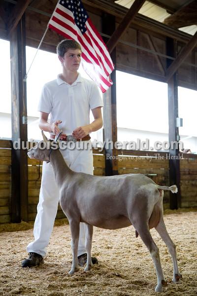 Sarah Shaw/The Herald  Luke Summerlot of Jasper, 16, showed his dairy goat at the Dubois County 4-H Fairgrounds in Bretzville on Wednesday.