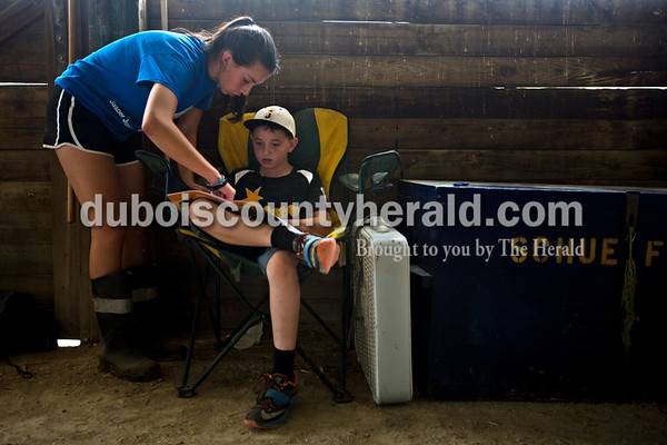 Abby Fischer, 14, helped her cousin, Aidan Schue, 10, both of Jasper with his log booklet Monday evening during animal check in at the Dubois County 4-H  Fairgrounds in Bretzville.   Alisha Jucevic/The Herald