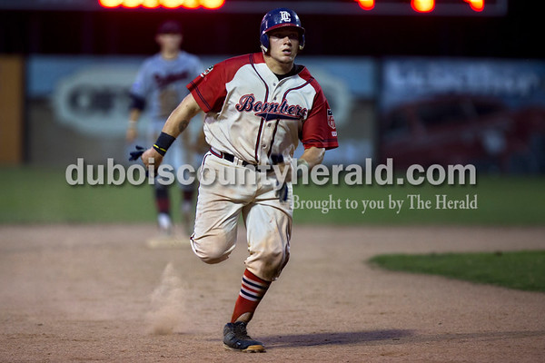 Bombers' Trey Fulton sprinted toward third during the Bombers' first matchup in the Ohio Valley League playoffs on Monday night at League Stadium in Huntingburg. The Bombers defeated the Paducah Chiefs 7-5. Alisha Jucevic/The Herald