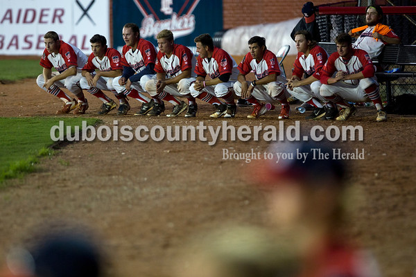 The Bombers crouched in a line as they waited in anticipation during the final innings of their first matchup in the Ohio Valley League playoffs on Monday night at League Stadium in Huntingburg. The Bombers defeated the Paducah Chiefs 7-5 Alisha Jucevic/The Herald