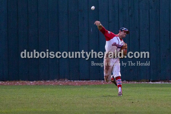 Bombers' Zach Barnhart released a pass during the Bombers' first matchup in the Ohio Valley League playoffs on Monday night at League Stadium in Huntingburg. The Bombers defeated the Paducah Chiefs 7-5 Alisha Jucevic/The Herald