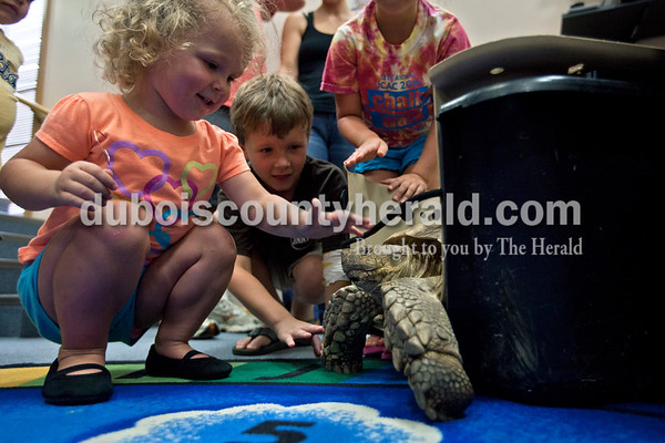 Crosby Mitchell of Jasper, 2, and her brother Maddox, 6, pet an African spurred tortoise during Animal Tales' Nature's Olympians presentation Tuesday afternoon at the Jasper Public Library. The program featured seven exotic animals from around the world that utilize unique abilities to comet and survive out in the wild.  Alisha Jucevic/The Herald