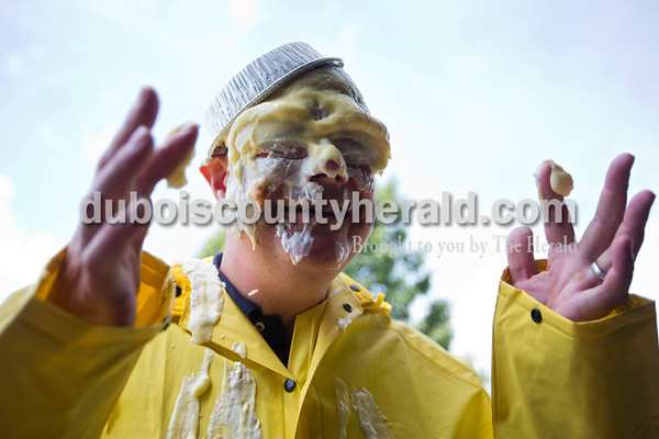 """Employees gathered in the Stens Corperation warehouse for a """"Pie in the Eye"""" Relay for Life fundraiser on Wednesday afternoon in Jasper. Stens Vice President John Bauersfeld of Newburgh wiped banana pudding off his cheeks after getting a pie to the face. The company raised more than $500 for their Relay for Life team and plan on doing more fun fundraising events throughout the year. In the past they have done soup days, competitions to win a vacation day, and a book fair.    Alisha Jucevic/The Herald"""