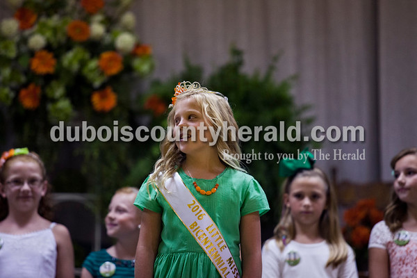 Andyn Lampert of Ireland, 8, was crowned Little Miss Ireland Bicentennial during the Little Miss and Mister Ireland Bicentennial pageant on Sunday at Ireland Elementary School.  Alisha Jucevic/The Herald