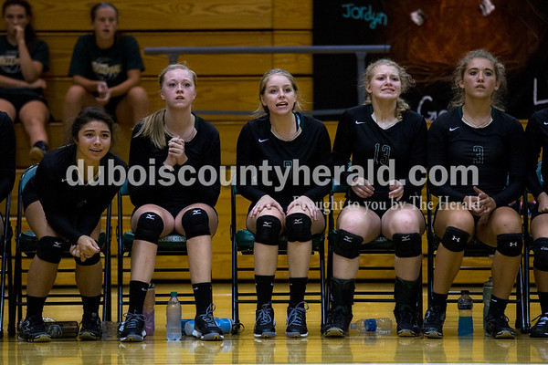 Forest Park's Katelyn Tretter, left, Courtney Borman, Paige Seger, Kylie Giesler and Faith Zazzetti watched the final seconds of Monday night's game against South Spencer at Forest Park High School in Ferdinand. The Rangers fell 25-19, 19-25, 25-5, 25-19 to the Rebels.  Alisha Jucevic/The Herald