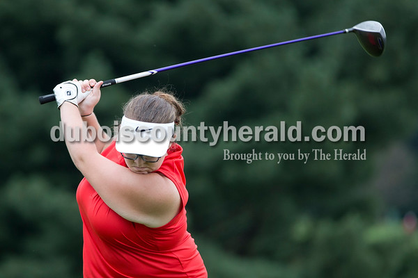 Forest Park's Brianne Seffernick teed off during the Wildcat Invitational at Buffalo Trace Golf Course in Jasper on Saturday.  Sarah Shaw/The Herald