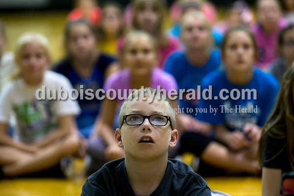 """Cedar Crest Intermediate School fifth-grader Mason Tobin watched  """"Inside Out"""" with his classmates on Monday afternoon in Bretzville.  Alisha Jucevic/The Herald"""