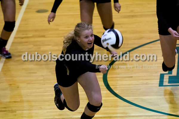Forest Park's Kylie Giesler dove for a return during Monday night's game against South Spencer at Forest Park High School in Ferdinand. The Rangers fell 25-19, 19-25, 25-5, 25-19 to the Rebels.  Alisha Jucevic/The Herald