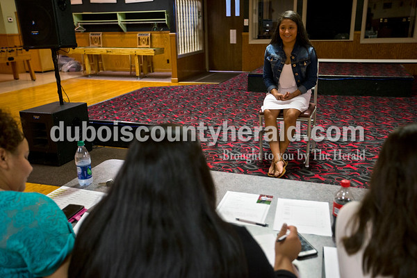 Gina Flores of Huntingburg, 15, sat for her interview during the Latino Festival pageant interview sessions on Sunday afternoon at Teen Outback in Huntingburg.  Alisha Jucevic/The Herald