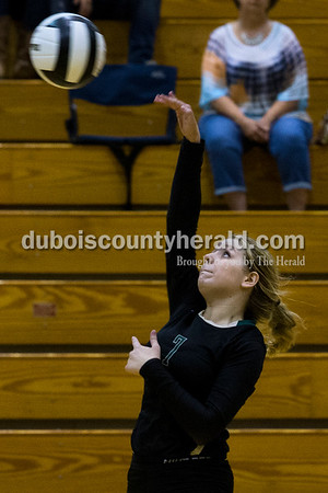 Forest Park's Paige Seger spiked the ball during Monday night's game against South Spencer at Forest Park High School in Ferdinand. The Rangers fell 25-19, 19-25, 25-5, 25-19 to the Rebels.  Alisha Jucevic/The Herald