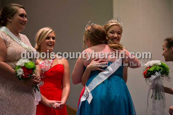 2015 Miss Shamrock Queen Nicole Kress of Ireland, 17, embraced Lydia Shepherd of Jasper, 17, as Lydia was crowed the 2016 Miss Ireland Bicentennial Queen on Sunday evening at Ireland Elementary School. Ireland's Bicentennial celebration begins Friday and continues throughout the weekend.  Alisha Jucevic/The Herald
