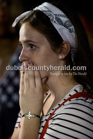 Jasper senior Molly Mehringer watched Friday night's game against Southrigde in Huntingburg. The Raiders defeated the Wildcats 28-21, securing the first rivalry win since 2008.  Alisha Jucevic/The Herald
