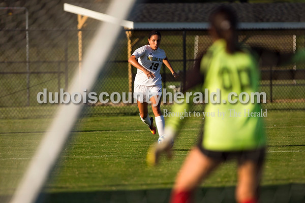 Jasper's Hannah Love approached the goal during Thursday night's game against Princeton in Jasper. The Wildcats swept Princeton 9-0.   Alisha Jucevic/The Herald