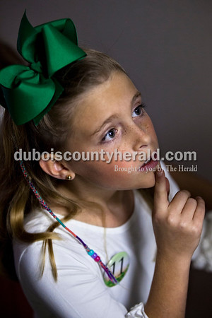 Azleigh Young of Ireland, 10, waited backstage for the Little Miss and Mister Ireland Bicentennial pageant to begin on Sunday at Ireland Elementary School.  Alisha Jucevic/The Herald