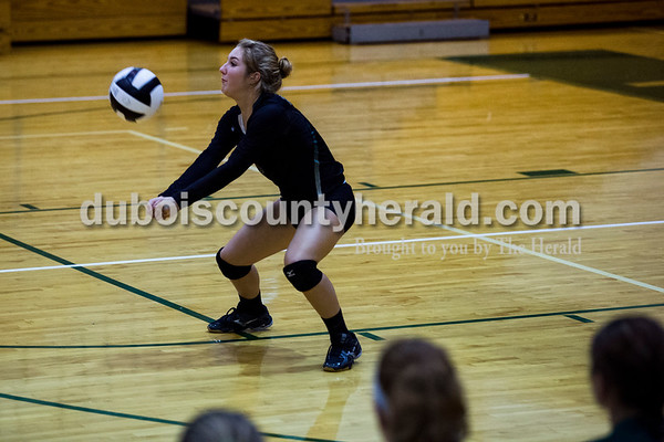 Forest Park's Anna Becher bumped the ball during Monday night's game against South Spencer at Forest Park High School in Ferdinand. The Rangers fell 25-19, 19-25, 25-5, 25-19 to the Rebels.  Alisha Jucevic/The Herald