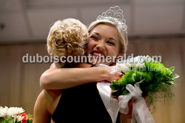 2016 Junior Miss Ireland Bicentennial first runner-up Kylie Patterson of Ireland, 13, embraced Lydia Shepherd of Jasper, 17, after Lydia was crowed the 2016 Miss Ireland Bicentennial Queen on Sunday evening at Ireland Elementary School. Ireland's Bicentennial celebration begins Friday and continues throughout the weekend.  Alisha Jucevic/The Herald