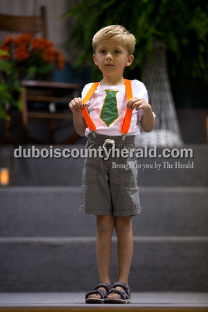 Corde Leinenbach of Jasper, 6, stood onstage during the Little Miss and Mister Ireland Bicentennial pageant on Sunday at Ireland Elementary School.  Alisha Jucevic/The Herald
