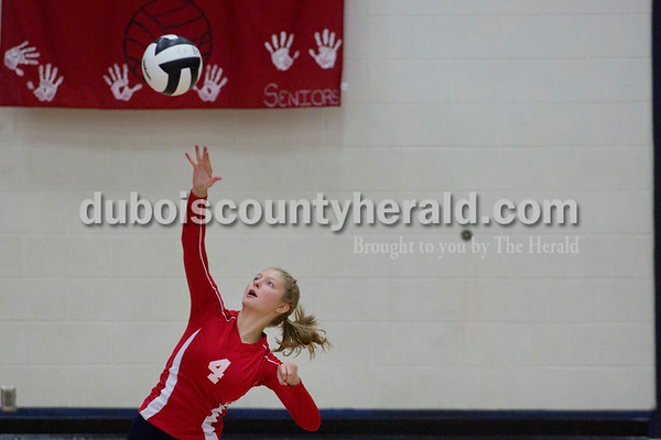 Sarah Shaw/The Herald Heritage Hills' Abby Wetzel served the ball during the game against Jasper at Heritage Hills High School in Lincoln City on Tuesday. The Patriots beat the Wildcats three sets to none.