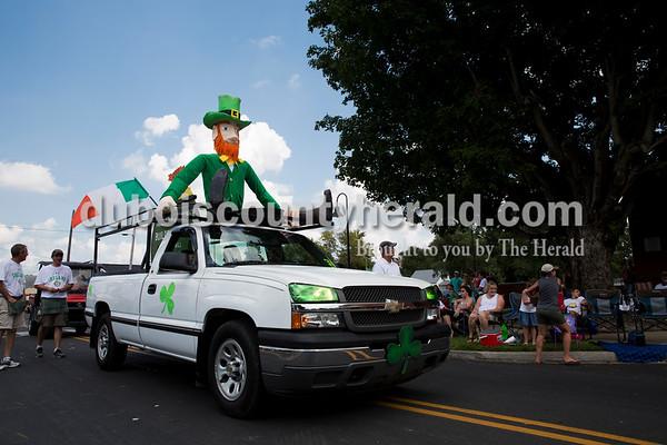 A giant leprechaun topped a truck during the Ireland Bicentennial parade on Sunday. Sarah Ann Jump/The Herald