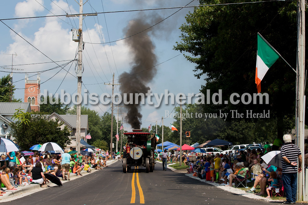 A 1920 Kitten steam engine owned by Francis Lindauer of Ferdinand drove in the Ireland Bicentennial parade on Sunday. Sarah Ann Jump/The Herald