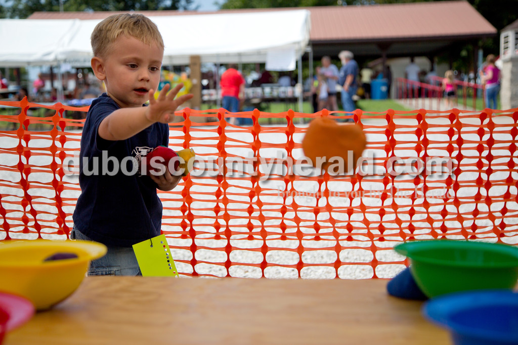 Sarah Shaw/The Herald<br /> Wren Englert of Birdseye, 2, tossed beanbags while playing a carnival game during the town of Birdseye's annual picnic at Birdseye Park on Saturday.