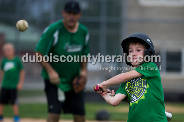 Kaleb Wendholt of Jasper, 8, participated in the home run derby during the Ireland Bicentennial celebration on Saturday. Sarah Ann Jump/The Herald