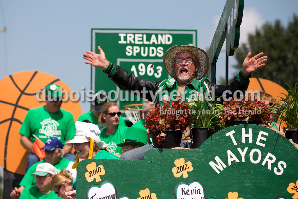 Sam Schwenk of Ireland, the 2011 Ireland Mayor for a Day, waved from a float during the Ireland Bicentennial parade on Sunday. Sarah Ann Jump/The Herald