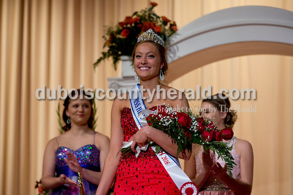 Sarah Shaw/The Herald Bailey Barrett of Huntingburg, 18, smiled after being crowned 2016 Miss Herbstfest and Miss Photogenic during the pageant at Southridge High School in Huntingburg on Sunday.