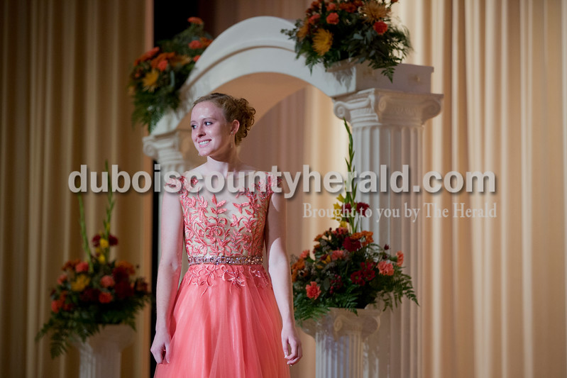 Sarah Shaw/The Herald<br /> Emily Eckert of Huntingburg, 18, made eye contact with the judges during the pageant at Southridge High School in Huntingburg on Sunday.