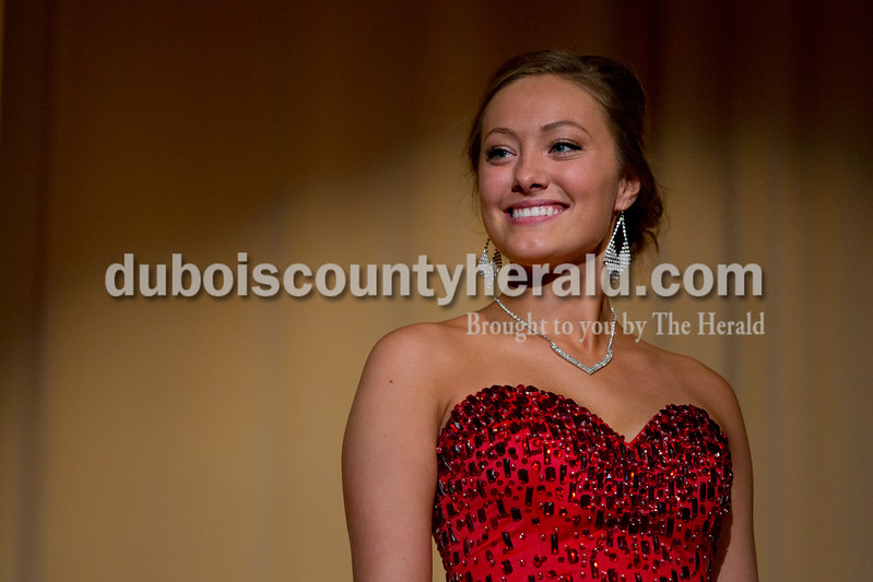 Sarah Shaw/The Herald<br /> Bailey Barrett of Huntingburg, 18, smiled at the judges during the pageant at Southridge High School in Huntingburg on Sunday. Barrett was crowned 2016 Miss Herbstfest.