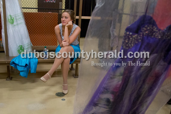 Sarah Shaw/The Herald Bailey Barrett of Huntingburg, 18, collected her thoughts before the start of the Miss Herbstfest pageant at Southridge High School in Huntingburg on Sunday. Barrett was crowned 2016 Miss Herbstfest.