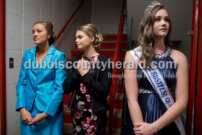 Sarah Shaw/The Herald<br /> Contestants Bailey Barrett, 18, and Jenna Brock, 16, both of Huntingburg, and 2015 Miss Herbstfest Erica Buechlein of Huntingburg, 18, waited for the pageant to begin at Southridge High School in Huntingburg on Sunday.