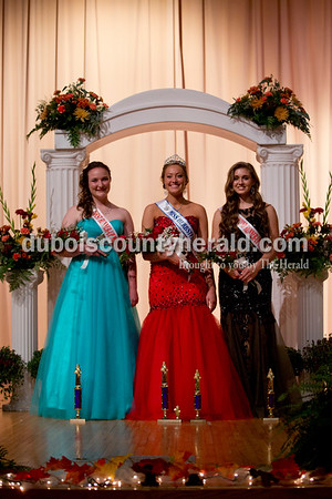 Sarah Shaw/The Herald Brianna Lammers of Huntingburg, 19, was named first runner-up; Baily Barrett of Huntingburg, 18, was named Miss Photogenic and crowned Miss Herbstfest; Lauren Meyer was named second runner-up during the pageant at Southridge High School in Huntingburg on Sunday.