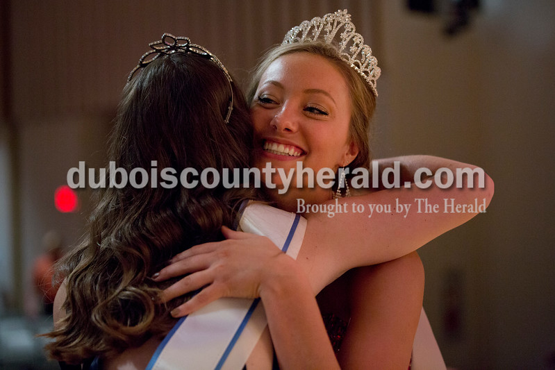 Sarah Shaw/The Herald<br /> Bailey Barrett of Huntingburg, 18, right, embraced 2015 Miss Herbstfest Erica Buechlein of Huntingburg, 18, after being crowned the 2016 Miss Herbstfest during the pageant at Southridge High School in Huntingburg on Sunday. Barrett is a freshman at the University of Southern Indiana where she is studying elementary education.