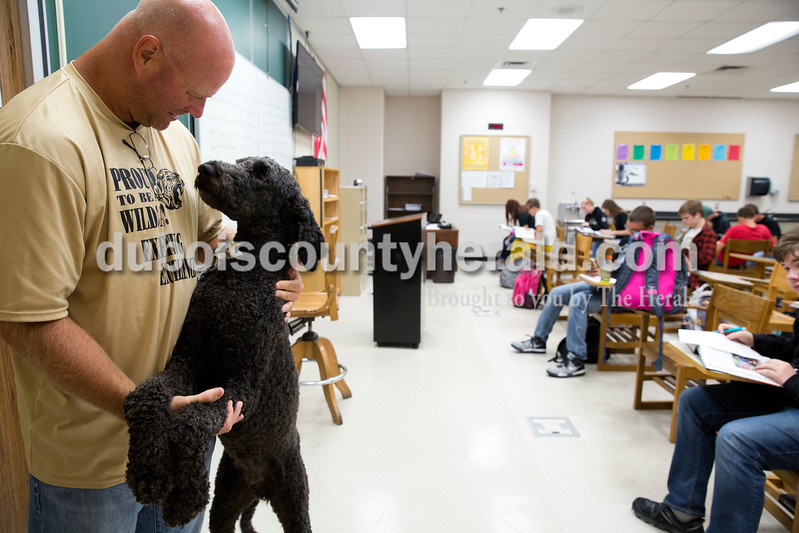 Sarah Ann Jump/The Herald<br /> Jasper High School teacher Nick Eckert brought his dog Dexter to his interpersonal relations class at the school on Friday morning.