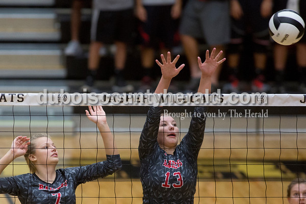 Sarah Shaw/The Herald Southridge's Kenzie Lubbehusen and Kenzie Young defended during the game in Jasper on Thursday. Jasper won 3-0.