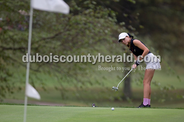 Sarah Shaw/The Herald Jasper's Madelynne Wagner watched as her putt crossed the green during sectionals at Buffalo Trace Golf Course in Jasper on Saturday.