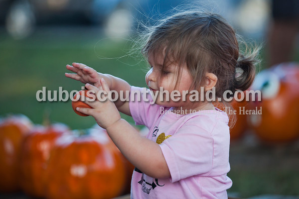 Helena Luebbehusen of Huntingburg, 1, played with a painted pumpkin during opening night of Herbstfest on Thursday night in Huntingburg City Park.   Alisha Jucevic/The Herald