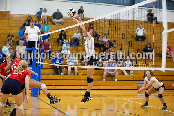Northeast Dubois' Molly Lueken hit the ball over the net during Tuesday's volleyball match in Dubois. Northeast Dubois defeated South Knox in 3 sets. Sarah Ann Jump/The Herald