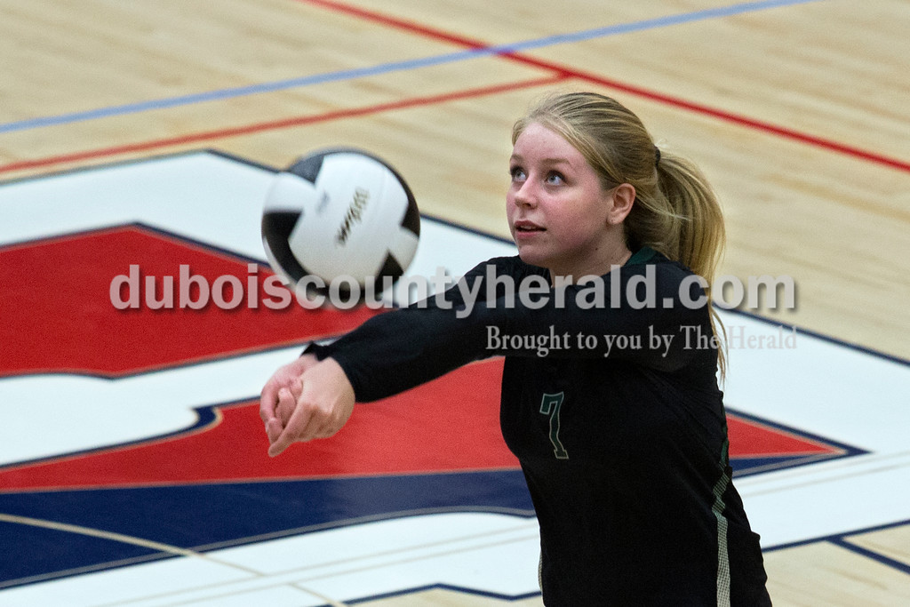 Forest Park's Paige Seger bumped the ball during Monday night's game in Lincoln City. The Patriots won 25-11, 25-13, 25-8. <br /> Alisha Jucevic/The Herald