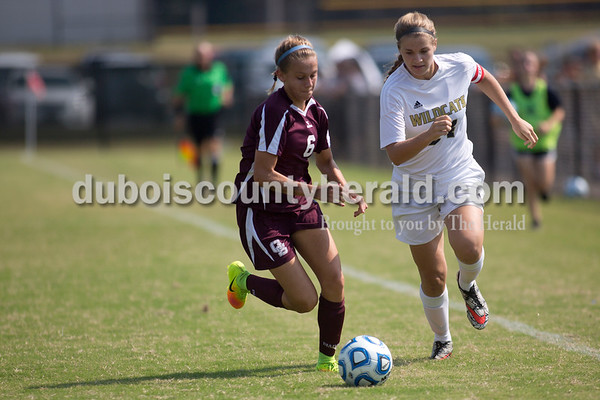 Sarah Shaw/The Herald Gibson Southern's Samantha Bittner and Jasper's Reagan Otto fought for the ball during the game in Jasper on Saturday. Jasper lost 4-2.